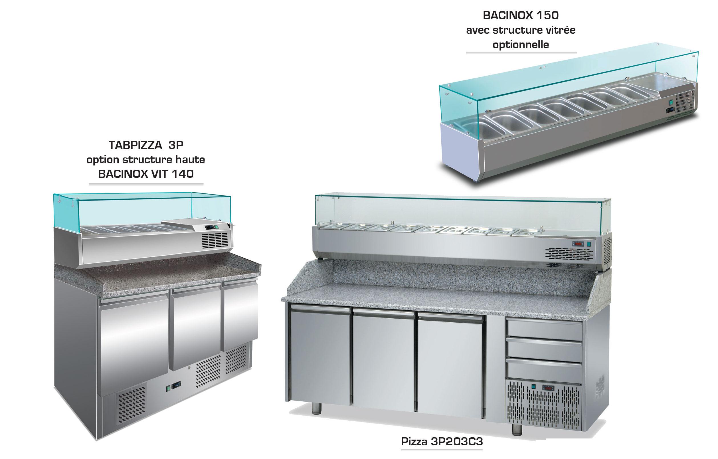 TABLE REFRIGEREE TABPIZZA - BACINOX - PIZZA